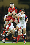 Dan Biggar of Wales wins the aerial ball against Ben Youngs of England - RBS 6Nations 2015 - Wales  vs England - Millennium Stadium - Cardiff - Wales - 6th February 2015 - Picture Simon Bellis/Sportimage
