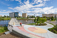 Centennial footbridge across the Chena River in downtown, Fairbanks, Alaska