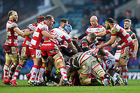 A scuffle breaks out between both teams. Aviva Premiership match, between Leicester Tigers and Gloucester Rugby on February 11, 2017 at Welford Road in Leicester, England. Photo by: Patrick Khachfe / JMP