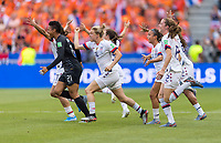 LYON,  - JULY 7: Emily Sonnett #14 celebrates during a game between Netherlands and USWNT at Stade de Lyon on July 7, 2019 in Lyon, France.