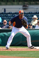 Houston Astros infielder Jesus Guzman (14) during a spring training game against the Miami Marlins on March 21, 2014 at Osceola County Stadium in Kissimmee, Florida.  Miami defeated Houston 7-2.  (Mike Janes/Four Seam Images)