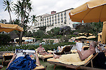 ADDIS ABABA, ETHIOPIA - NOVEMBER 7 : Aid workers and Expatriates enjoy the pool at Sheraton Hotel on a hot day on November 7, 2010 in central Addis Ababa, Ethiopia. The hotel is one of the most luxurious on the African continent. (Photo by: Per-Anders Pettersson)