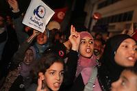23 ottobre 2011 Tunisi, elezioni libere per l'Assemblea Costituente, le prime della Primavera araba: sostenitrici del partito Enhada festeggiano in piazza la vittoria del proprio partito la sera in cui vengono annunciati i risultati.<br /> premieres elections libres en Tunisie octobre <br /> tunisian elections Festeggiamenti vittoria Ennhada