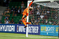 1st February 2020; HBF Park, Perth, Western Australia, Australia; A League Football, Perth Glory versus Melbourne Victory; Lawrence Thomas of Melbourne Victory tips the ball over the net in the dying minutes of extra time