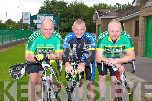 CYCLE: Taking part in the Na Gaeil GAA fundraising family cycle at the Na Gaeil clubhouse, Tralee on Saturday l-r: George O'Grady, Listowel, Vincent Keane, Lispole and Mike Dalton, Listowel.
