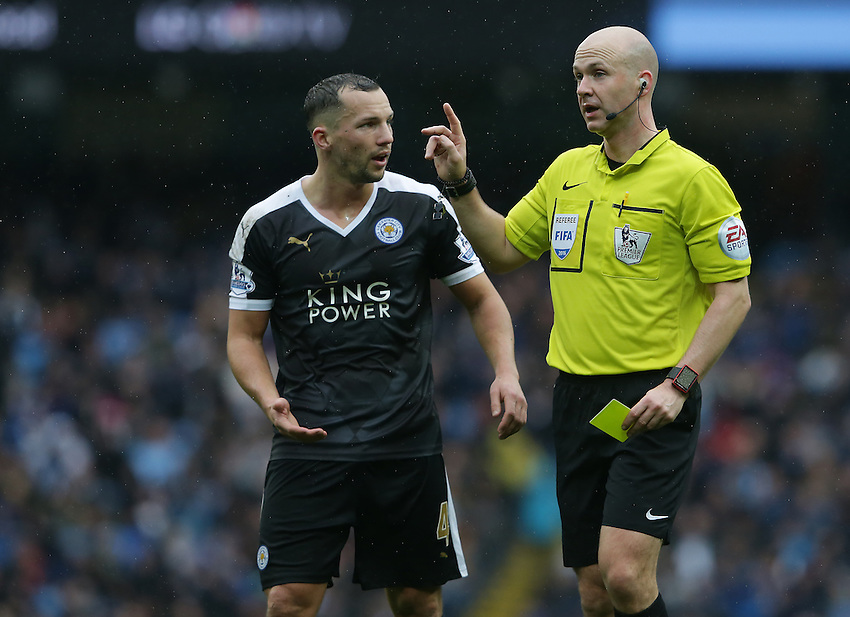 Referee Anthony Taylor talks to Leicester City's Daniel Drinkwater<br /> <br /> Photographer Stephen White/CameraSport<br /> <br /> Football - Barclays Premiership - Manchester City v Leicester City - Saturday 6th February 2016 -  Etihad Stadium - Manchester<br /> <br /> &copy; CameraSport - 43 Linden Ave. Countesthorpe. Leicester. England. LE8 5PG - Tel: +44 (0) 116 277 4147 - admin@camerasport.com - www.camerasport.com