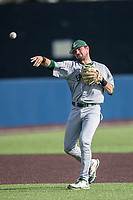 Eastern Michigan Eagles shortstop Devin Hager (23) makes a throw to first base during the NCAA baseball game against the Michigan Wolverines on May 16, 2017 at Ray Fisher Stadium in Ann Arbor, Michigan. Michigan defeated Eastern Michigan 12-4. (Andrew Woolley/Four Seam Images)