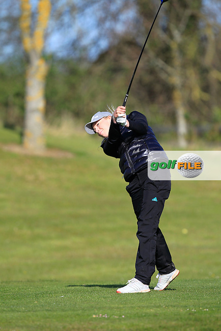 Cloe Frankish (ENG) on the 1st tee during Round 3 of the Irish Girl's Open Stroke Play Championship at Roganstown Golf &amp; Country Club on Sunday 17th April 2016.<br /> Picture:  Thos Caffrey / www.golffile.ie