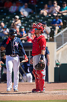 Springfield Cardinals catcher looks to the mound as Northwest Arkansas Naturals outfielder Khalil Lee (24) steps to the plate on May 19, 2019, at Arvest Ballpark in Springdale, Arkansas. (Jason Ivester/Four Seam Images)
