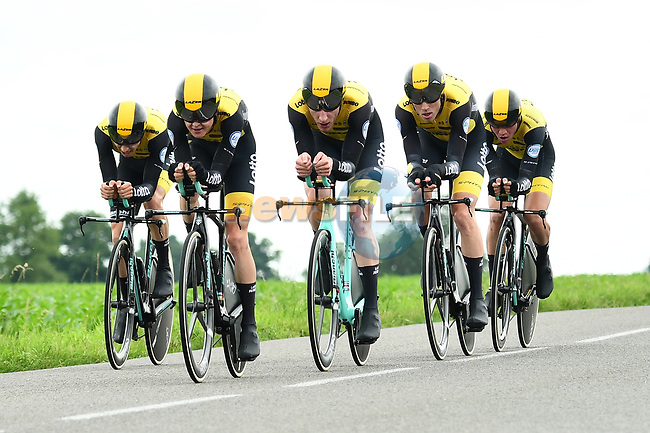 Team LottoNL-Jumbo in action during Stage 3 of the 2018 Criterium du Dauphine 2018 a Team Time Trial running 35km from Pont de Vaux to Louhans Chateaurenaud, France. 6th June 2018.<br /> Picture: ASO/Alex Broadway | Cyclefile<br /> <br /> <br /> All photos usage must carry mandatory copyright credit (© Cyclefile | ASO/Alex Broadway)