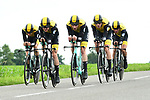 Team LottoNL-Jumbo in action during Stage 3 of the 2018 Criterium du Dauphine 2018 a Team Time Trial running 35km from Pont de Vaux to Louhans Chateaurenaud, France. 6th June 2018.<br /> Picture: ASO/Alex Broadway | Cyclefile<br /> <br /> <br /> All photos usage must carry mandatory copyright credit (&copy; Cyclefile | ASO/Alex Broadway)