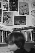 Posters and photos on bedroom walls, Summerhill school, Leiston, Suffolk, UK. 1968.