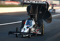 Aug. 30, 2013; Clermont, IN, USA: NHRA top fuel dragster driver Tommy Johnson Jr during qualifying for the US Nationals at Lucas Oil Raceway. Mandatory Credit: Mark J. Rebilas-