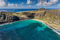 An aerial view of Makapu'u Beach with Sea Life Park on the right, East O'ahu.