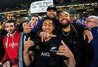 Rieko Ioane with fans after the 2017 DHL Lions Series rugby union match between the NZ All Blacks and British & Irish Lions at Eden Park in Auckland, New Zealand on Saturday, 24 June 2017. Photo: Dave Lintott / lintottphoto.co.nz