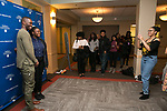 Guests enjoyed meeting and taking pictures with Tarell Alvin McCraney at the end of the evening, Friday, April 21, 2017 in the Lincoln Park Student Center. (Photo by Diane M. Smutny)