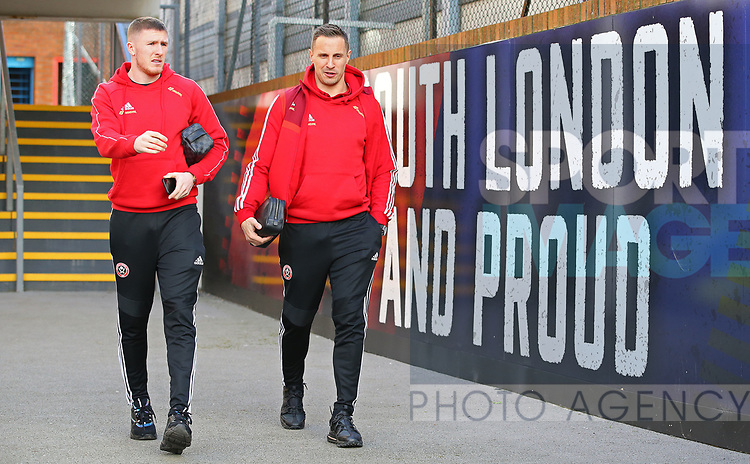 Sheffield United's John Lundstram and Phil Jagielka arrive ahead of the Premier League match at Selhurst Park, London. Picture date: 1st February 2020. Picture credit should read: Paul Terry/Sportimage