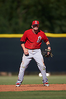 Los Angeles Angels Kody Eaves (8) during an instructional league game against the Arizona Diamondbacks on October 9, 2015 at the Tempe Diablo Stadium Complex in Tempe, Arizona.  (Mike Janes/Four Seam Images)
