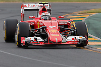March 14, 2015: Kimi Raikkonen (FIN) #7 from the Scuderia Ferrari team rounds turn two during qualification at the 2015 Australian Formula One Grand Prix at Albert Park, Melbourne, Australia. Photo Sydney Low