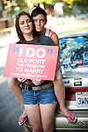 SACRAMENTO - JUNE 17:  Jessica Belmonte, left, and her friend Ashley Lamb, right, celebrate the one-year anniversary of a California Supreme Court ruling allowing same-sex marriages, at a press conference in Sacramento, California June 17, 2009.