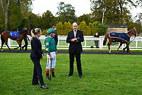 Clerk of the Course Jeremy Martin with jockey Andrea Atzeni in the parade ring during Afternoon Racing at Salisbury Racecourse on 4th October 2017