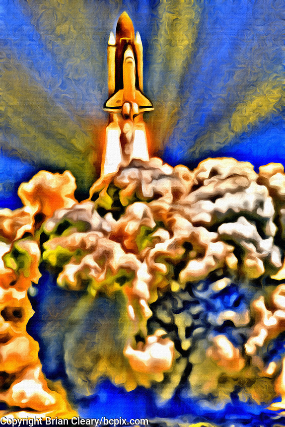 ALTERNATIVE, DIGITALLY MANIPULATED EDIT: Space Shuttle Columbia lifts off with her crew of seven including Robert D. Cabana (Commander), James D. Halsell (Pilot), <br /> Richard J. Hieb (Mission Specialist), Carl E. Walz (Mission Specialist), Leroy Chiao (Mission Specialist), Donald A. Thomas (Mission Specialist), and Chiaki Naito-Mukaito (Payload Specialist), begin the STS 65 mission,July 8, 1994, Kennedy Space Center, Titusville, FL, (Photo by Brian Cleary/bcpix.com)