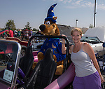 Lori Mays and Scooby Doo in a dune buggy during the Hot August Nights Pre-Kickoff Party at the Bonanza Casino in Reno, Nevada on Sunday, August 6, 2017.