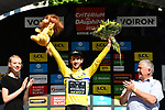 Race leader Adam Yates (GBR) Mitchelton-Scott retains the Yellow Jersey at the end of Stage 5 of the Criterium du Dauphine 2019, running 201km from Boen-sur-Lignon to Voiron, France. 13th June 2019.<br /> Picture: ASO/Alex Broadway | Cyclefile<br /> All photos usage must carry mandatory copyright credit (© Cyclefile | ASO/Alex Broadway)
