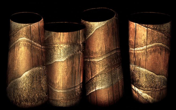 Bark from coconut palms made to look like vases