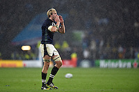Richie Gray of Scotland calls out to a team-mate. Rugby World Cup Quarter Final between Australia and Scotland on October 18, 2015 at Twickenham Stadium in London, England. Photo by: Patrick Khachfe / Onside Images