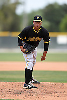 Pittsburgh Pirates pitcher Nestor Oronel (13) during a minor league spring training game against the Toronto Blue Jays on March 26, 2015 at Pirate City in Bradenton, Florida.  (Mike Janes/Four Seam Images)