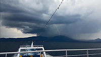 WEATHER PICTURE<br /> A lightning strikes Dirfys Mountain over the port of Eretria, Evia, Greece. The country has been experiencing recent heatwaves. Thursday 27 July 2017
