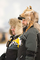 Fans endure cold temperatures to watch the I-500 Snowmobile race in Sault Ste. Marie Michigan.