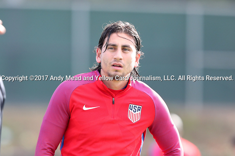 11 January 2017: Alejandro Bedoya. The United States Men's National Team held their first training session under new head coach Bruce Arena on The Murphy Family Field at the StubHub Center in Carson, California.