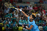 Zarins Diyas (Kazakhstan) serves. Rubber 1. World group II play off in the BNP Paribas Fed Cup. Copper Box arena. Queen Elizabeth Olympic Park. Stratford. London. UK. 20/04/2019. ~ MANDATORY Credit Garry Bowden/Sportinpictures - NO UNAUTHORISED USE - 07837 394578