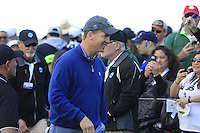 Former NFL quarterback Peyton Manning signs autographs for fans on the 6th hole at Pebble Beach Golf Links during Saturday's Round 3 of the 2017 AT&amp;T Pebble Beach Pro-Am held over 3 courses, Pebble Beach, Spyglass Hill and Monterey Penninsula Country Club, Monterey, California, USA. 11th February 2017.<br /> Picture: Eoin Clarke | Golffile<br /> <br /> <br /> All photos usage must carry mandatory copyright credit (&copy; Golffile | Eoin Clarke)