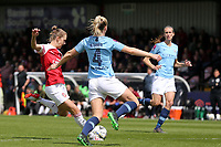 Vivianne Miedema of Arsenal Women and Gemma Bonner of Manchester City Women during Arsenal Women vs Manchester City Women, FA Women's Super League Football at Meadow Park on 11th May 2019