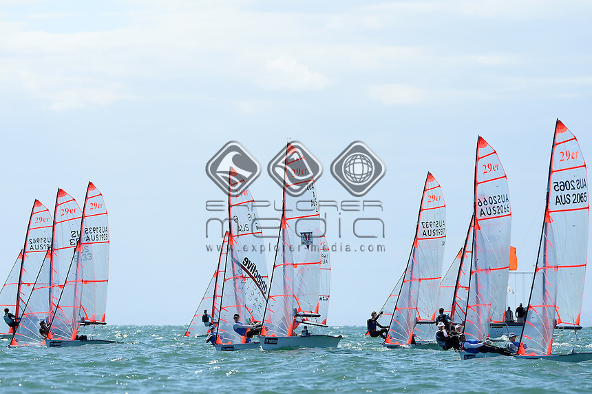 29ER / Fleet - starting action<br /> 2013 ISAF Sailing World Cup - Melbourne<br /> Sail Melbourne - The Asia Pacific Regatta<br /> Sandringham Yacht Club, Victoria<br /> December 1st - 8th 2013<br /> &copy; Sport the library / Jeff Crow