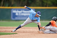 Tampa Bay Rays Jonathan Aranda (96) tags Carlos Baez (52) sliding into second base during a Minor League Spring Training game against the Baltimore Orioles on March 16, 2019 at the Buck O'Neil Baseball Complex in Sarasota, Florida.  (Mike Janes/Four Seam Images)
