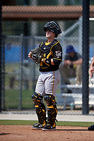 Pittsburgh Pirates catcher Jason Delay during a Florida Instructional League game against the Toronto Blue Jays on September 20, 2018 at the Englebert Complex in Dunedin, Florida.  (Mike Janes/Four Seam Images)