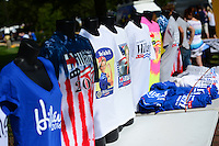 Annandale, VA - July 14, 2016: A vendor sells Hillary Clinton campaign shirts outside of a campaign rally held by democratic presidential candidate Hillary Clinton at the Ernst Community Cultural Center on the grounds of the Northern Virginia Community College, July 14, 2016. (Photo by Don Baxter/Media Images International)