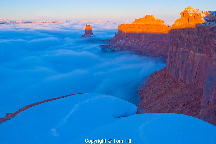 Fog and Candlestick Butte, Green River Overlook, Canyonlands National Park, Island in the Sky, Utah
