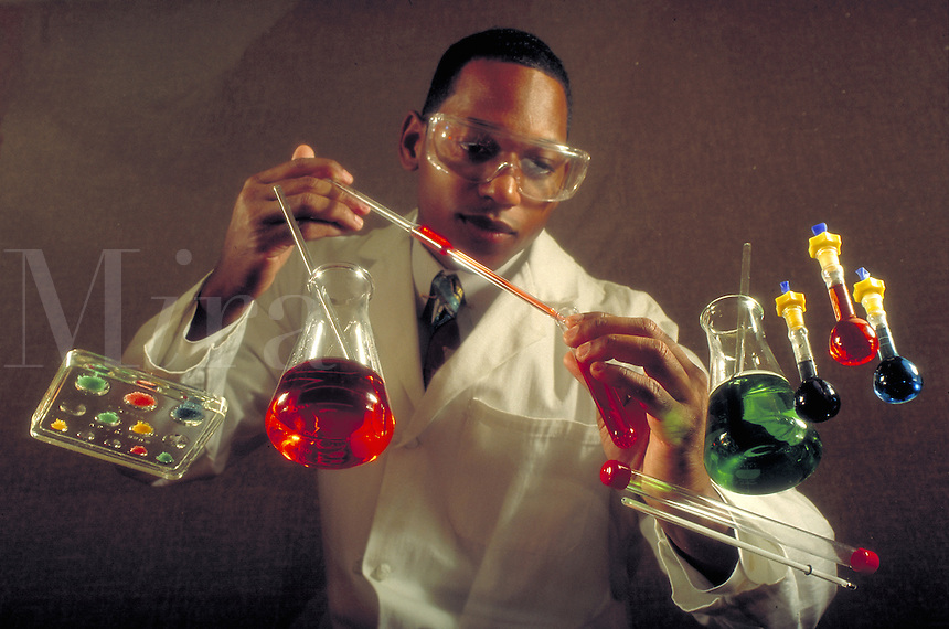 Lab technician working with chemicals