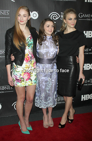 "NEW YORK, NY - MARCH 27: Sophie Turner, Maisie Williams and Natalie Dormer at the ""Game Of Thrones"" The Exhibition New York Opening at 3 West 57th Avenue on March 27, 2013 in New York City...Credit: MediaPunch/face to face..- Germany, Austria, Switzerland, Eastern Europe, Australia, UK, USA, Taiwan, Singapore, China, Malaysia and Thailand rights only -"