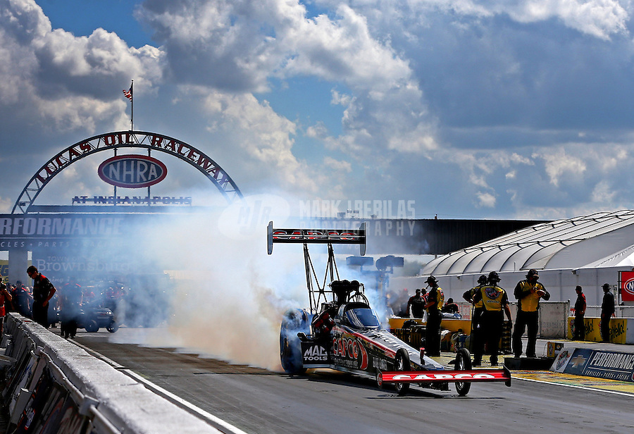 Sept. 2, 2013; Clermont, IN, USA: NHRA top fuel dragster driver Steve Torrence during the US Nationals at Lucas Oil Raceway. Mandatory Credit: Mark J. Rebilas-