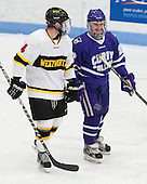 Mike Cox (WIT - 4), Brandon Gilmore (Curry - 22) - The Wentworth Institute of Technology Leopards defeated the visiting Curry College Colonels 1-0 on Saturday, November 23, 2013, at Walter Brown Arena in Boston, Massachusetts.