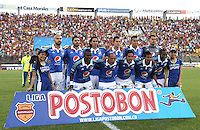 IBAGUE -COLOMBIA, 9-NOVIEMBRE-2014. Formacion de Millonarios frente al Deportes Tolima durante cuadrangulares finales de La Liga Postobon  Partido por la fecha 18 de la Liga Postobón 2014- II contra el Tolima  jugado en el estadio Manuel  Murillo Toro de la ciudad de Ibague./  Team  of Millonarios against Deportes  Tolima  the final runs of La Liga Postobon and be his last performance for 2014. Party date 18th  2014 Postobón League II  against Tolima played  Manuel Murillo Toro stadium in Ibague city.Photo / VizzorImage / Andrew Indell / Staff