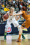 guard Brady Sanders (32) defends guard Kristy Wallace (4) during Big 12 women's basketball championship final, Sunday, March 08, 2015 in Dallas, Tex. (Dan Wozniak/TFV Media via AP Images)