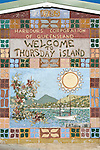 Thursday Island welcome sign at the Engineers Wharf.  Thursday Island, Torres Strait Islands, Queensland, Australia