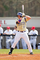 Jacob Hoyle (27) of the Western Carolina Catamounts at bat against the Davidson Wildcats at Wilson Field on March 10, 2013 in Davidson, North Carolina.  The Catamounts defeated the Wildcats 5-2.  (Brian Westerholt/Four Seam Images)